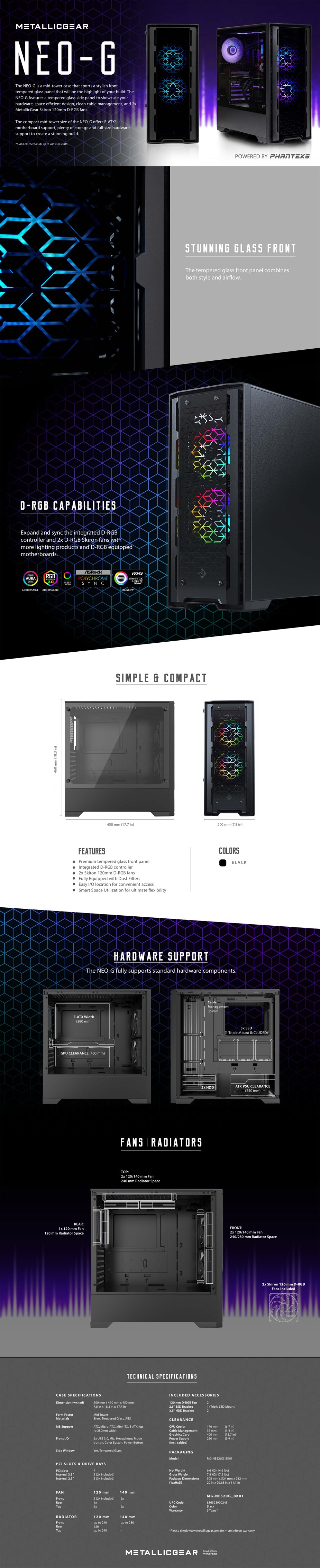 MetallicGear Neo G RGB Tempered Glass Mid-Tower E-ATX Case - Black - Overview 1