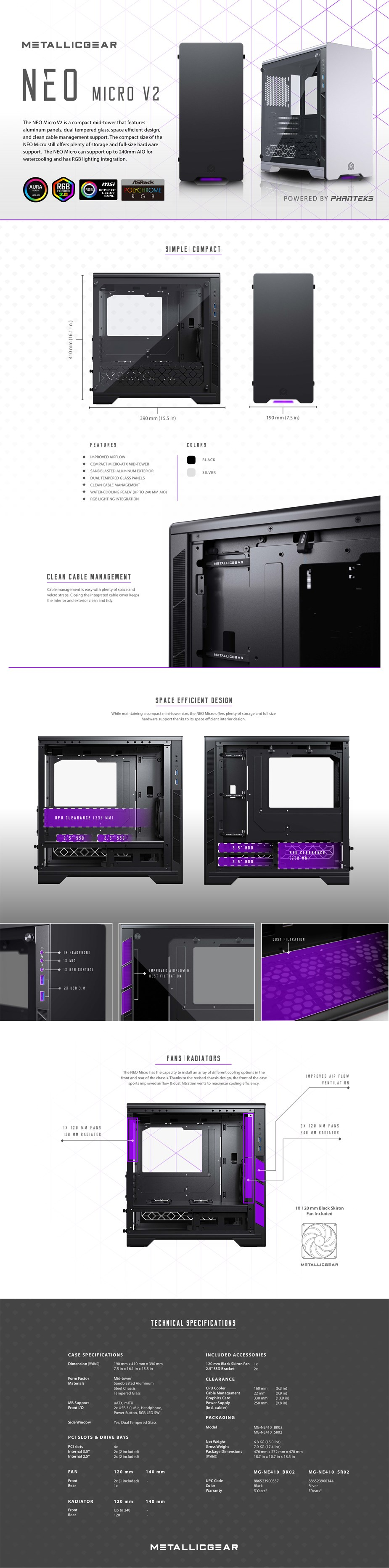 MetallicGear Neo Micro V2 RGB Tempered Glass Mid-Tower Mini-ITX Case - Black  - Overview 1