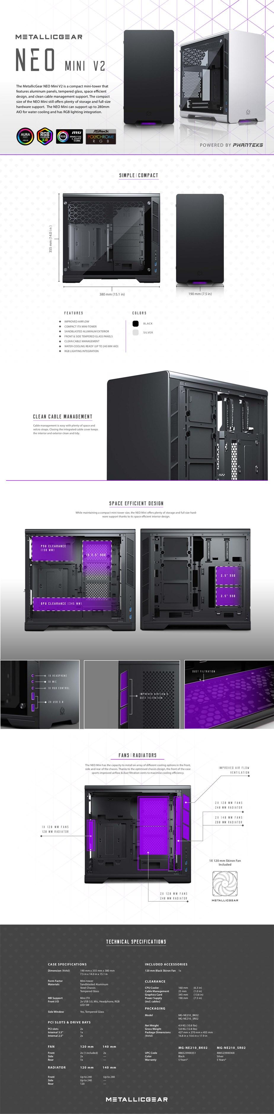 MetallicGear Neo Mini V2 RGB Tempered Glass Mini-Tower Mini-ITX Case - Black - Overview 1