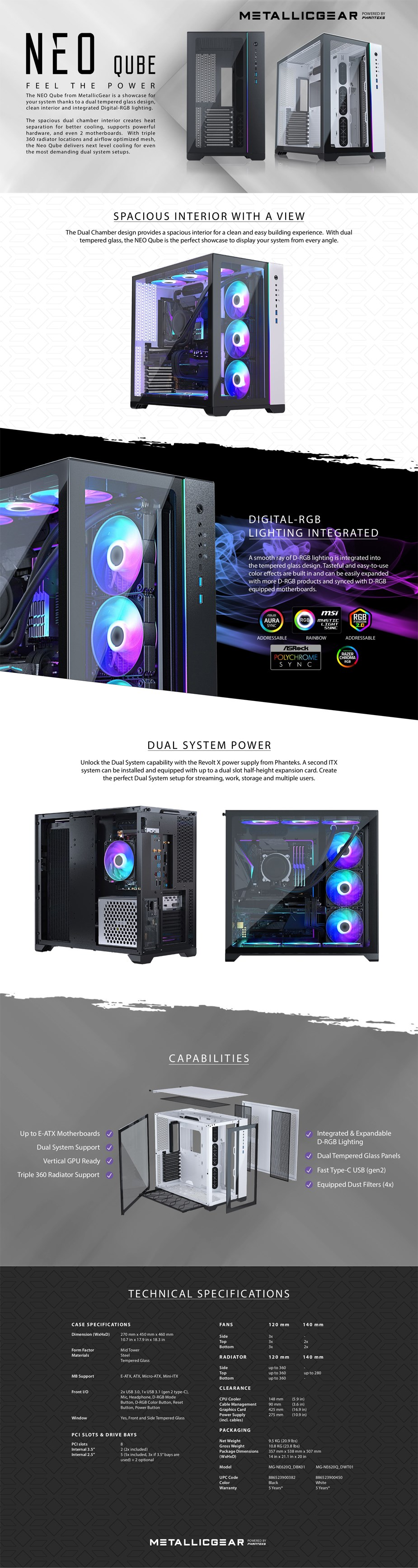 MetallicGear Neo Qube RGB Tempered Glass Full Tower E-ATX Case - White - Overview 1