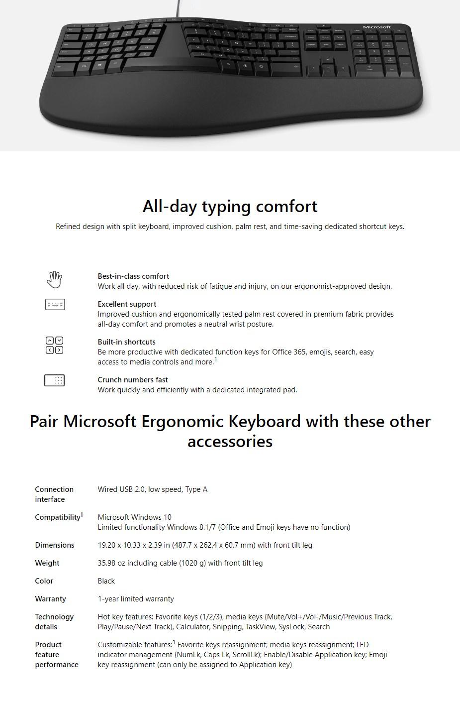 Microsoft Ergonomic Keyboard - Black - Overview 1