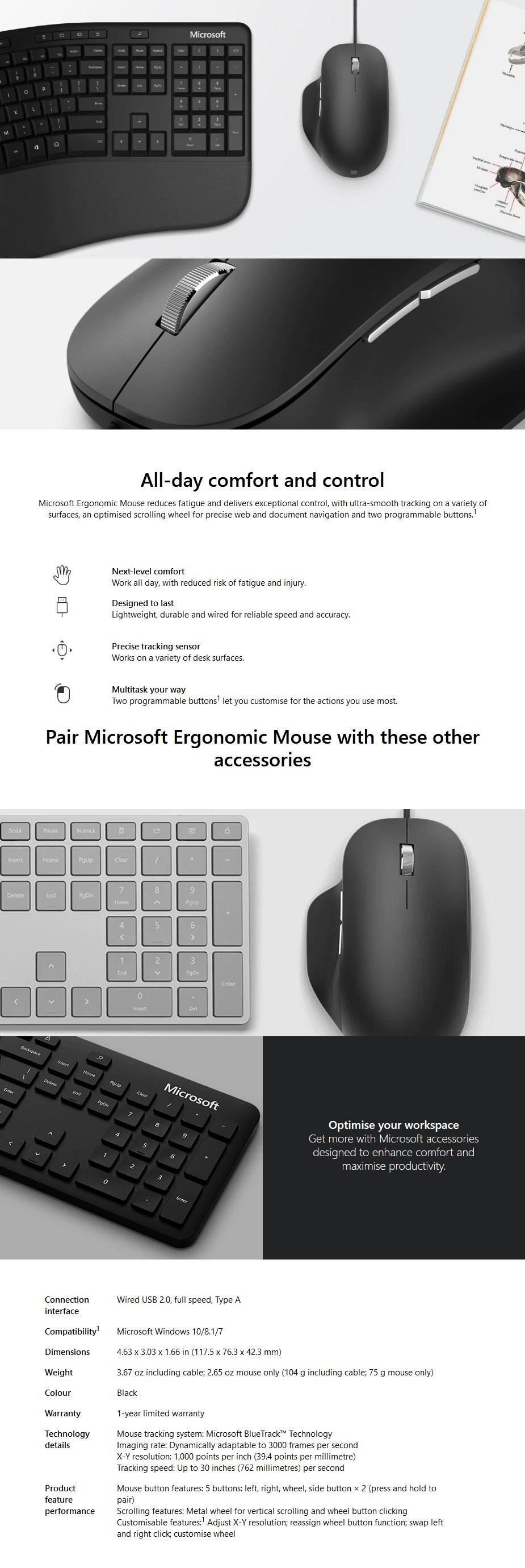 Microsoft Ergonomic Laser Mouse - Black - Overview 1