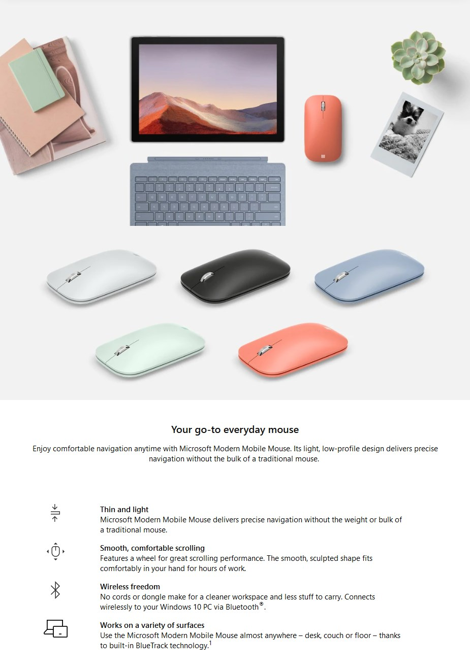 Microsoft Modern Mobile Bluetooth Mouse - Glacier - Overview 1