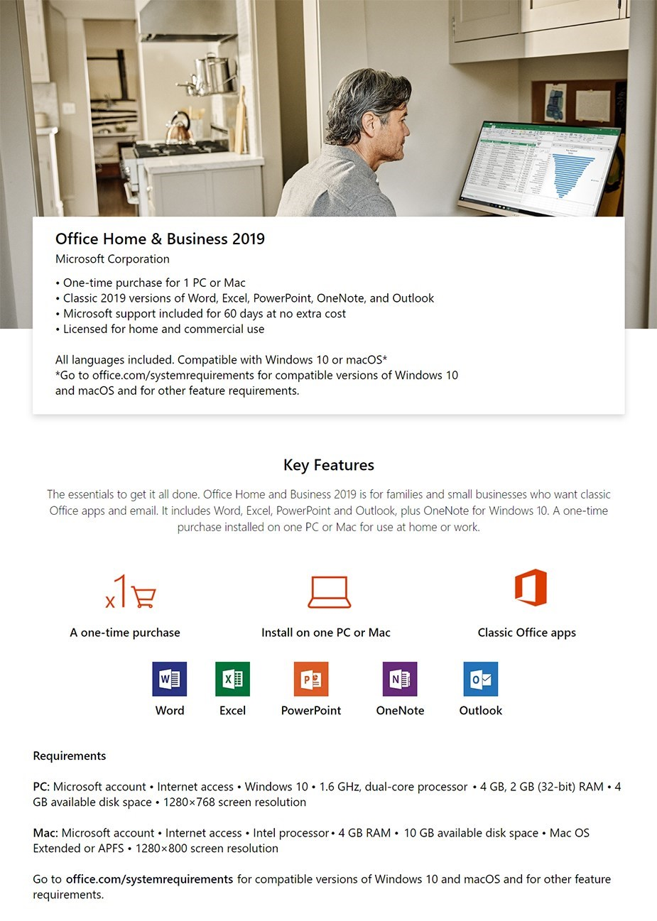 Microsoft Office 2019 Home and Business for Windows or Mac - Medialess Retail - Overview 1