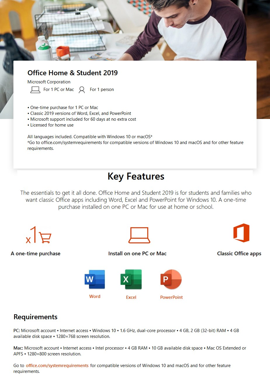 Microsoft Office 2019 Home and Student - Medialess Retail for Windows or Mac  - Overview 1