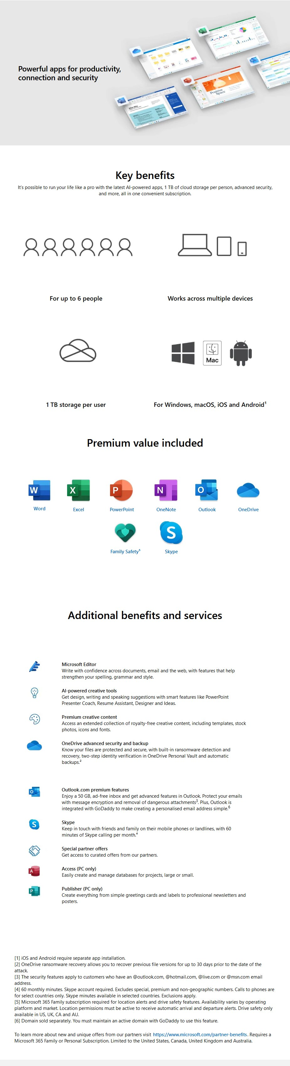 Microsoft Office 365 Family 1 Year Subscription - Medialess Retail - Desktop Overview 1