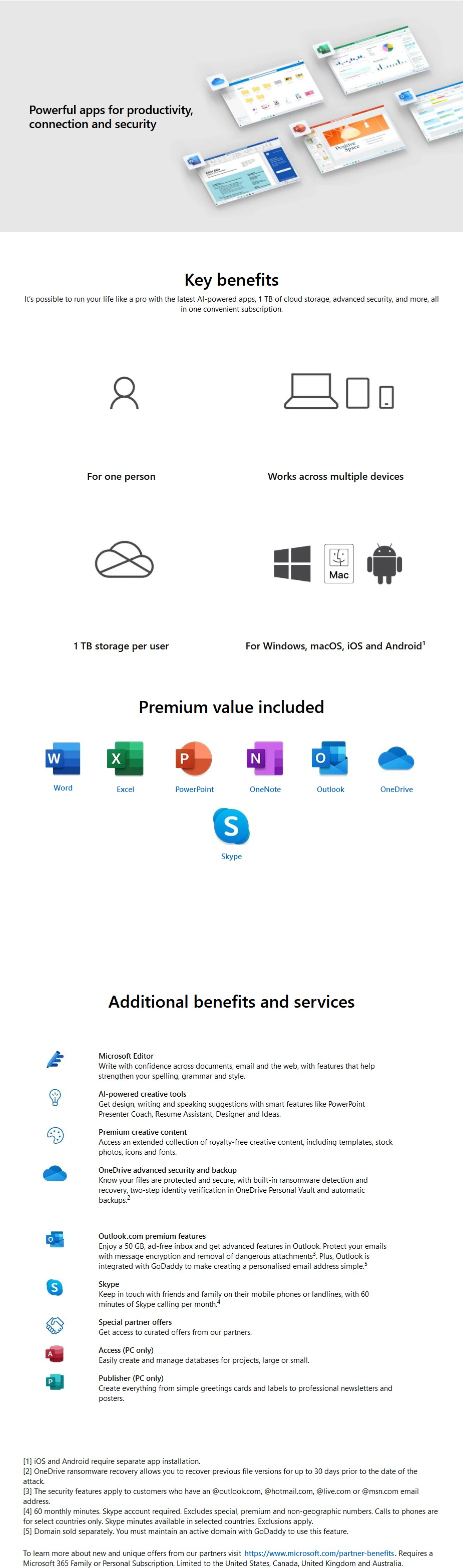 Microsoft Office 365 Personal 1 Year Subscription - Medialess Retail - Desktop Overview 1