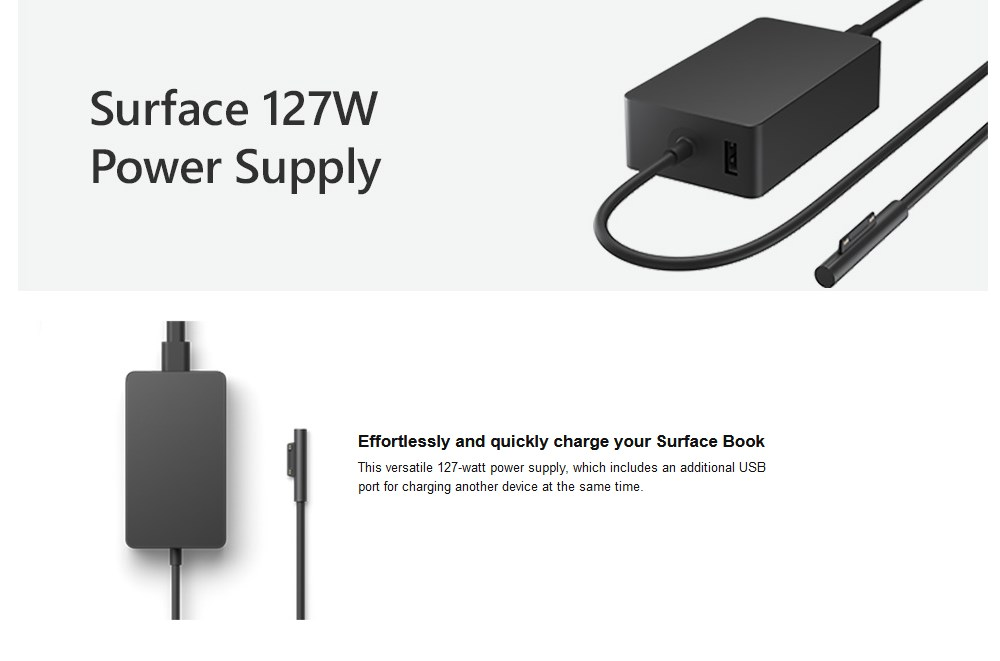 Microsoft Surface 127W Power Supply Unit for Surface Book - Overview 1