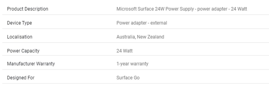 Microsoft Surface 24W Power Supply For Surface Go (CM)