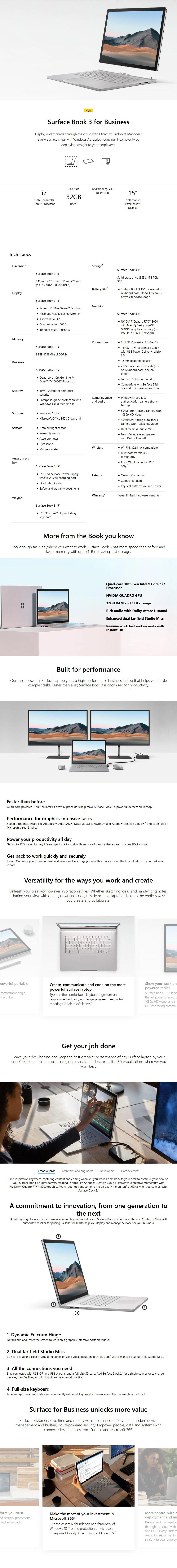 "Microsoft Surface Book 3 15"" i7-1065G7 32GB 1TB Nvidia Quadro RTX 3000 W10P - Overview 1"