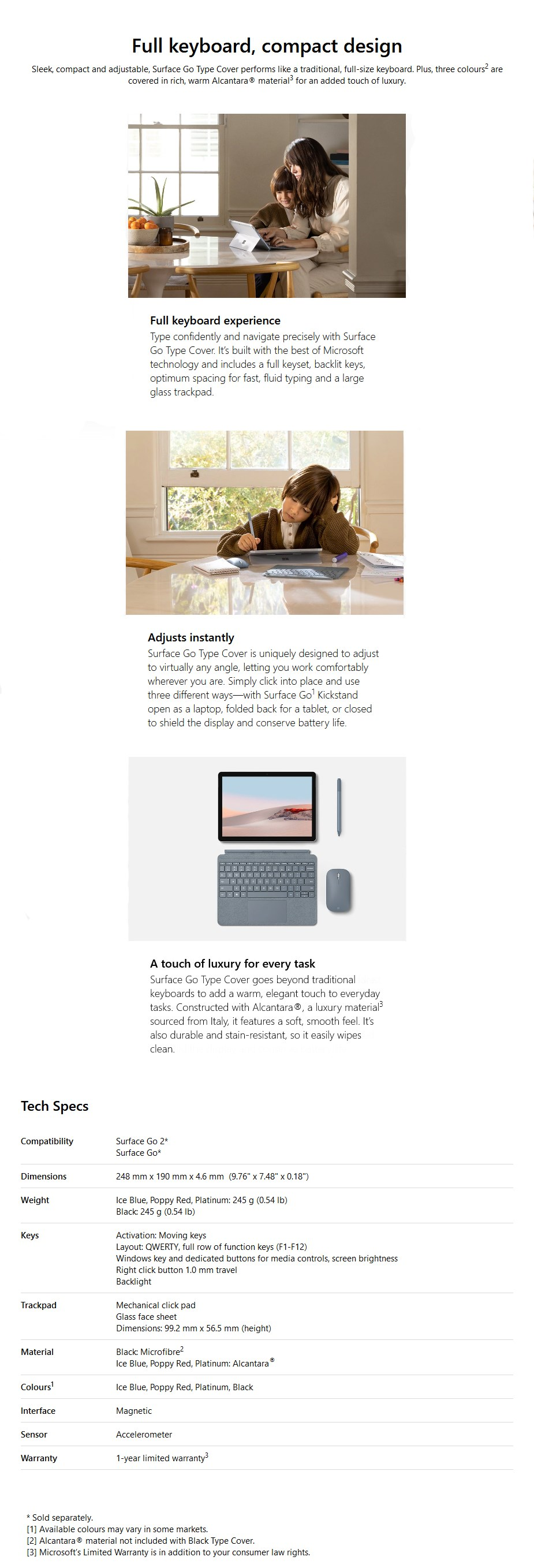 Microsoft Surface Go Signature Keyboard Type Cover - Light Charcoal - Overview 1