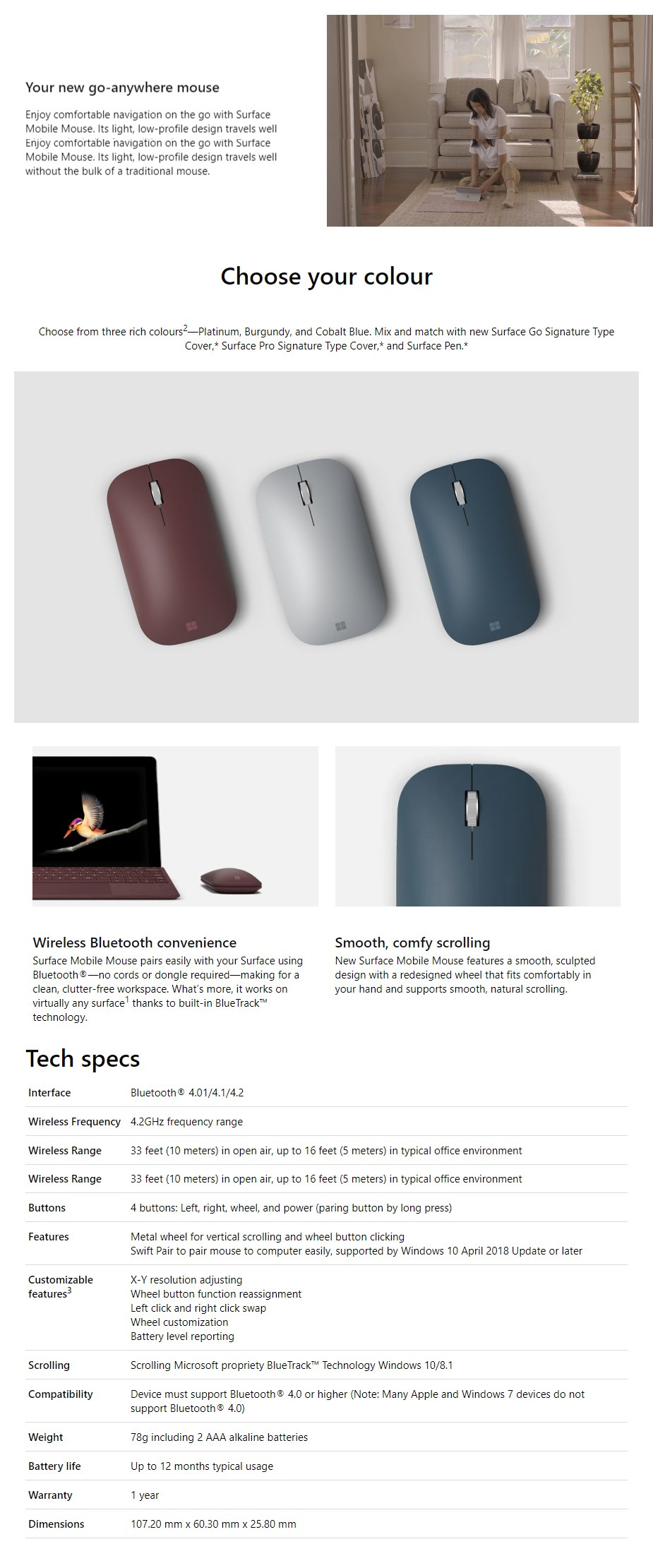 Microsoft Surface Mobile Bluetooth Mouse - Platinum - Overview 1