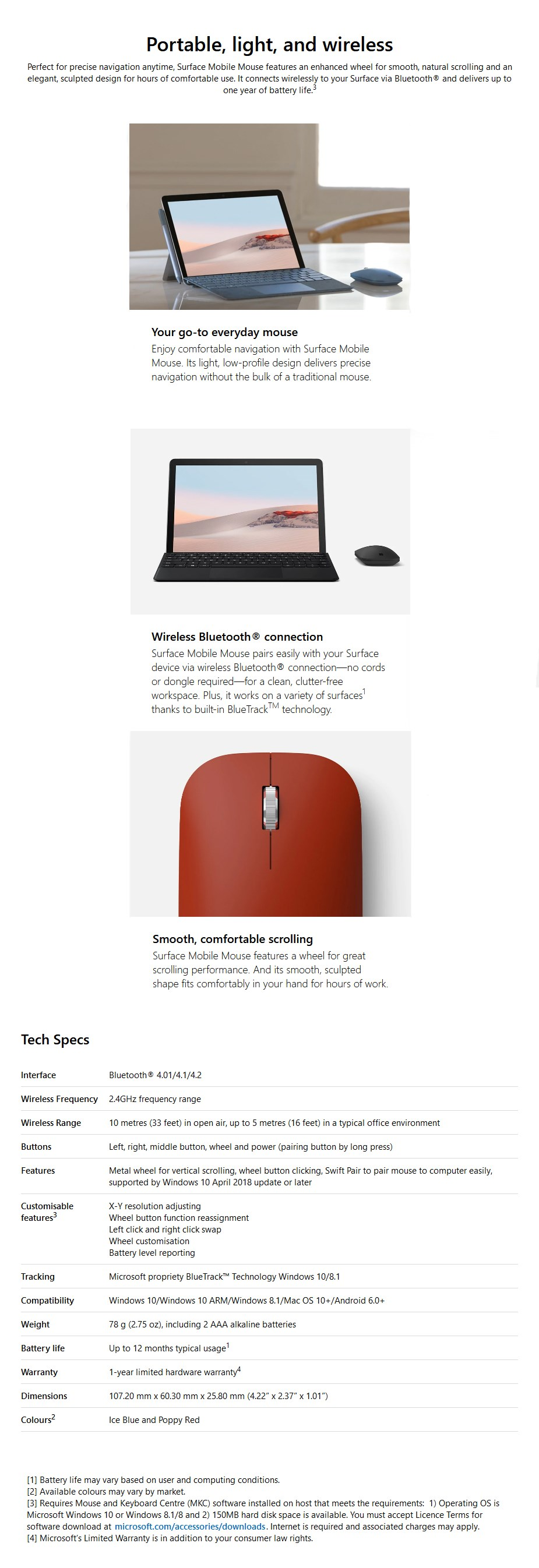 Microsoft Surface Mobile Bluetooth Mouse - Poppy Red - Overview 1