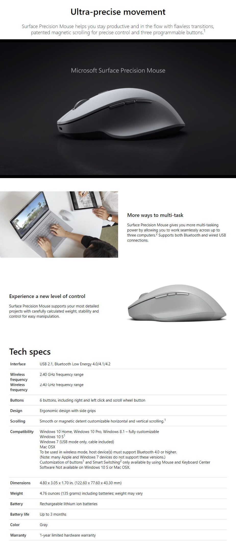 Microsoft Surface Precision Bluetooth Mouse - Grey - Overview 1