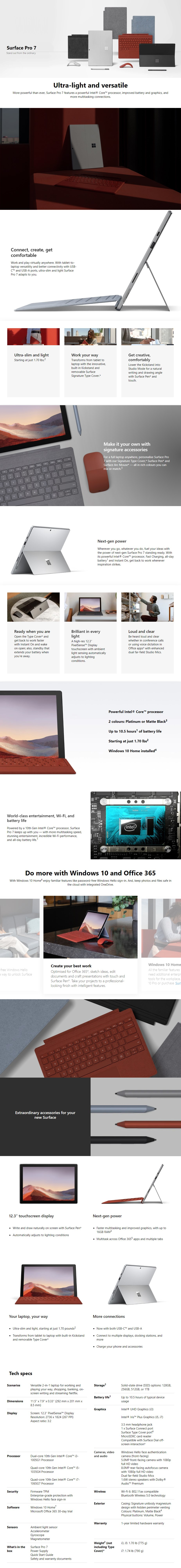 "Microsoft Surface Pro 7 12.3"" Core i5-1035G4 8GB 128GB W10P - Platinum - Overview 1"