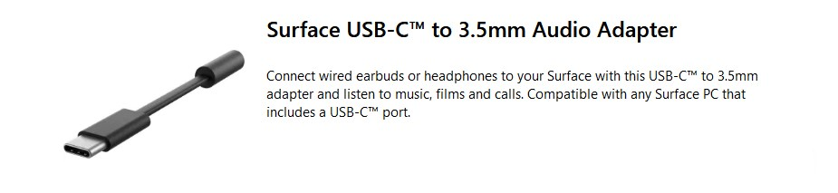 Microsoft Surface USB-C to 3.5mm Audio Adaptor - Overview 1