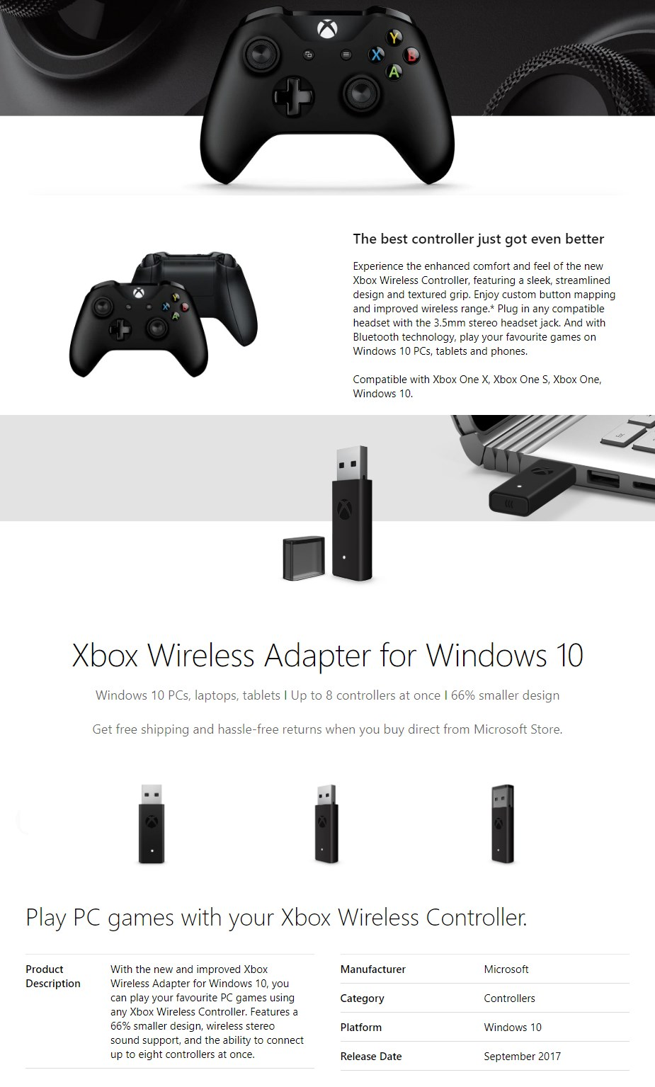 Microsoft Xbox Controller and Xbox One Wireless Adapter for Windows - Overview 1