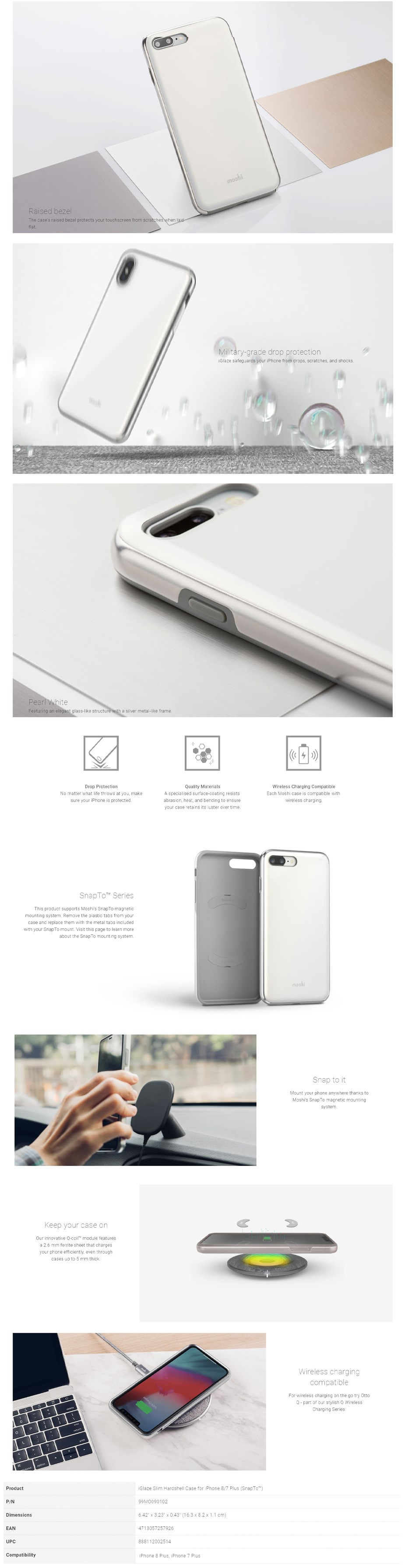 Moshi iGlaze Case for iPhone 8/7 Plus - Pearl White - Overview 1