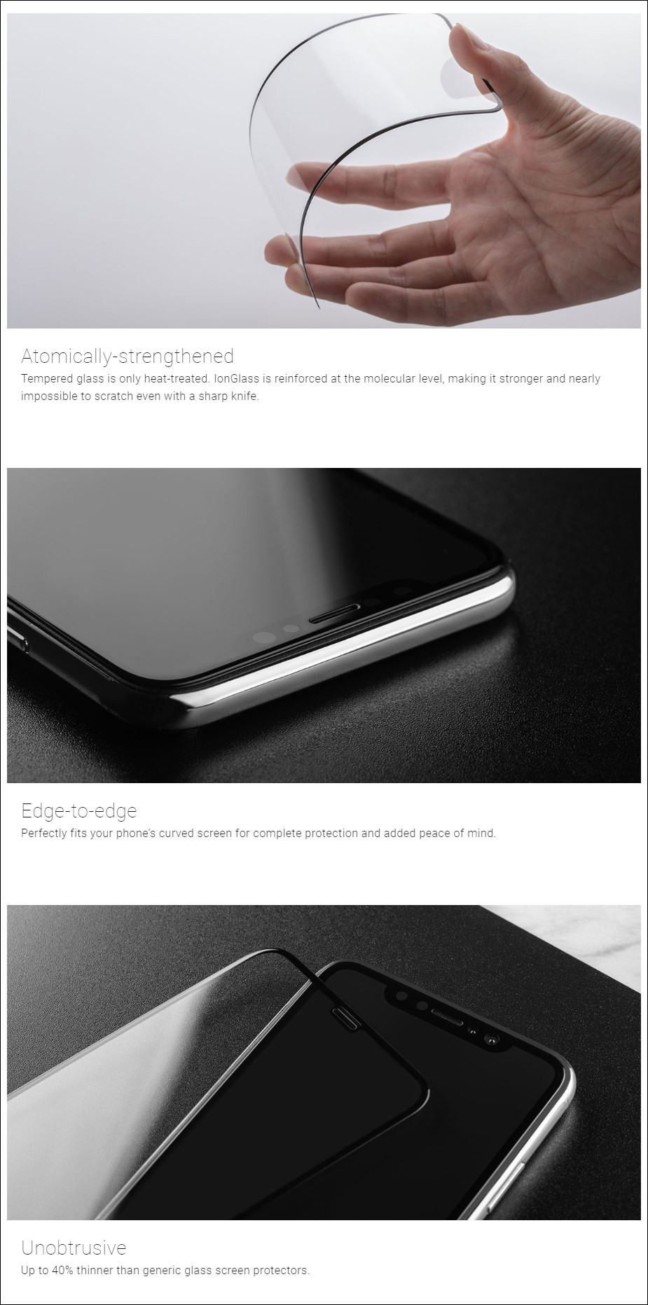 Moshi IonGlass Screen Protector Guard for iPhone XS Max - Black - Desktop Overview 1