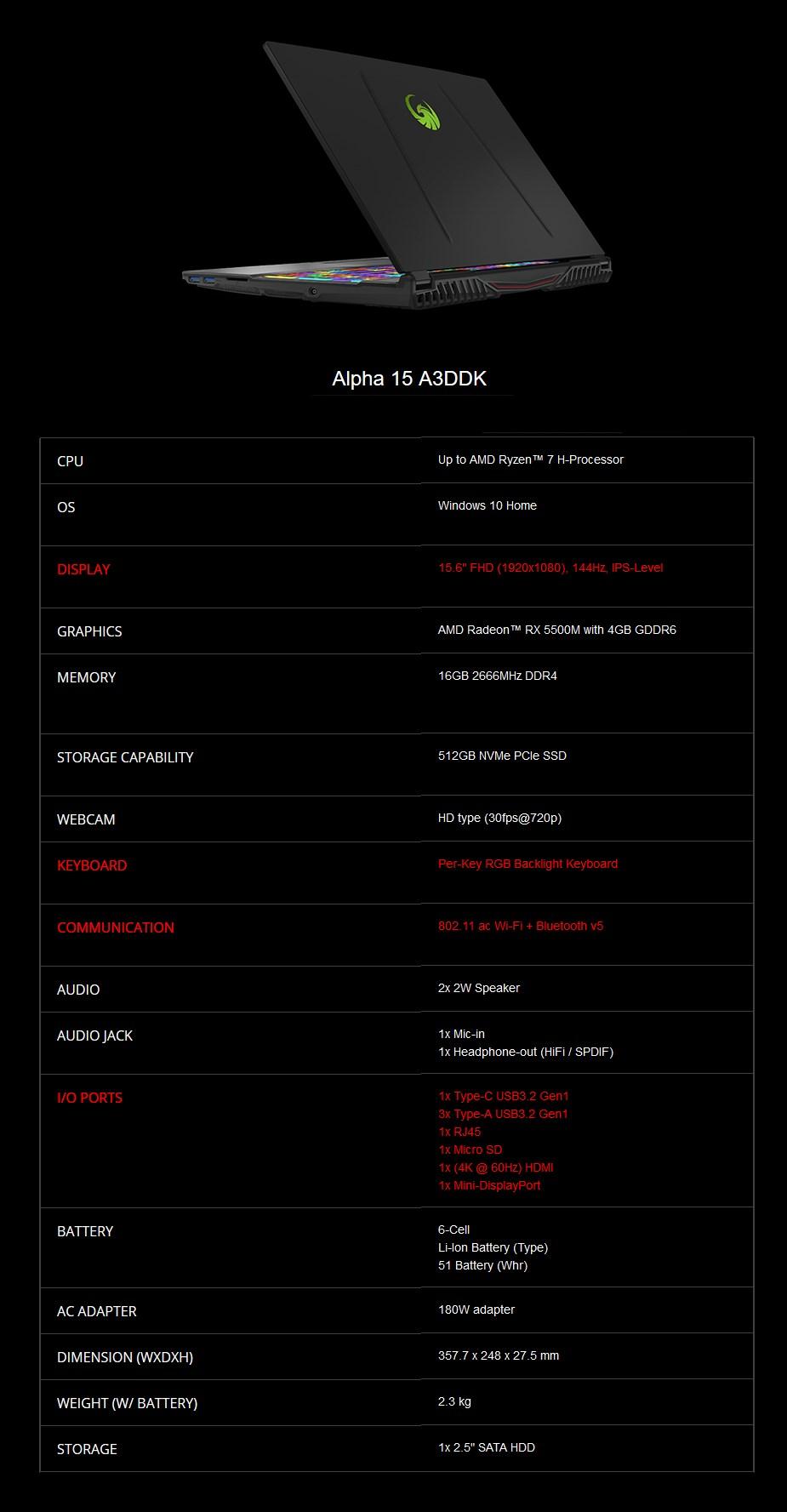 "MSI Alpha 15 A3DDK 15.6"" 120Hz Gaming Laptop R7-3750H 16GB 512GB RX 5500M W10H - Overview 2"