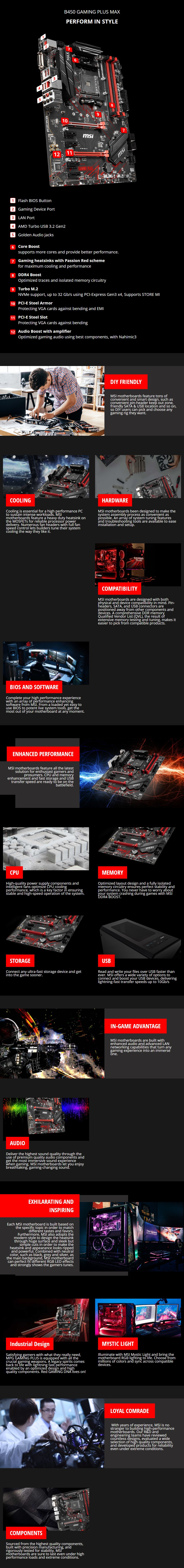 MSI B450 GAMING PLUS MAX AM4 ATX Motherboard - Overview 1