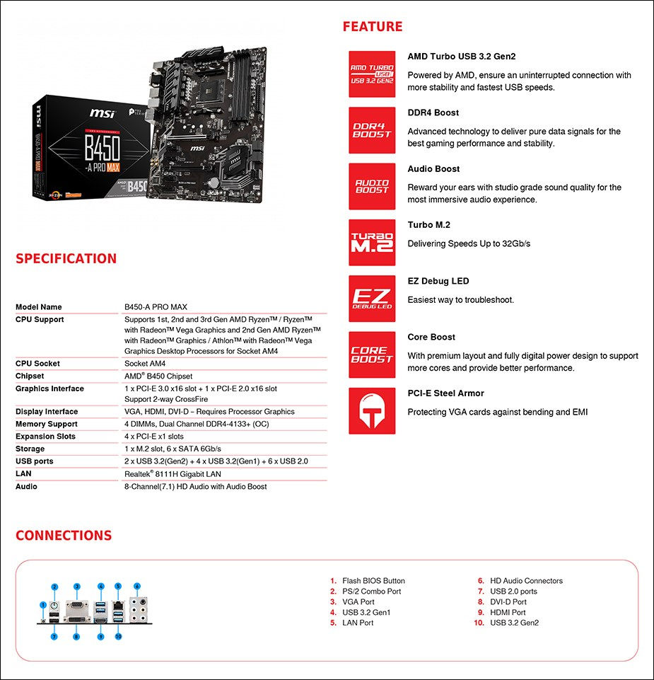 MSI B450-A PRO MAX AM4 ATX Motherboard - Overview 2