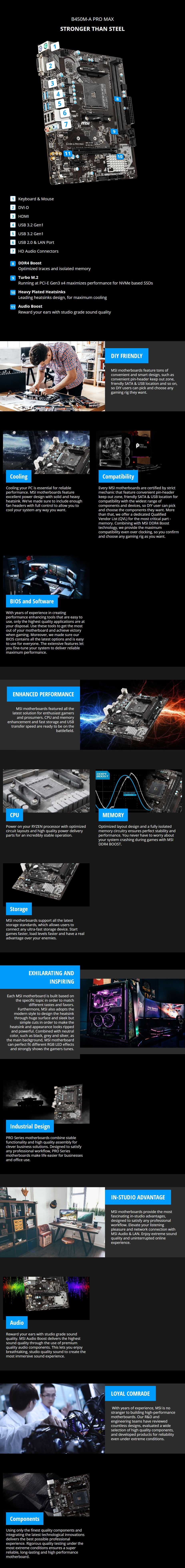 MSI B450M-A PRO MAX AM4 Micro-ATX Motherboard - Overview 1