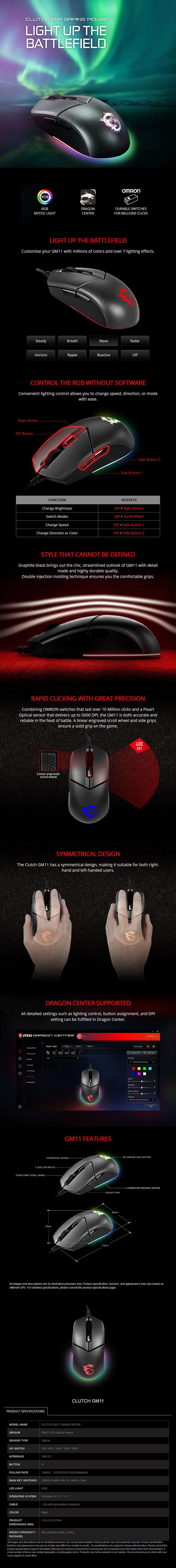 MSI Clutch GM11 Wired Optical Gaming Mouse - Overview 1