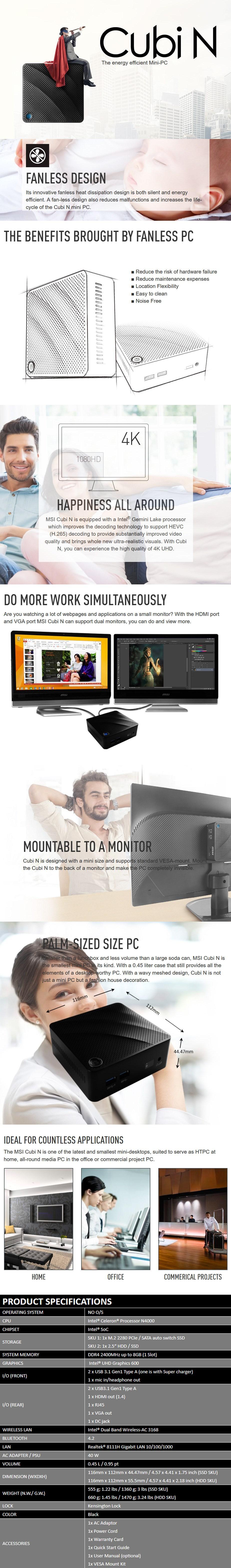 MSI Cubi N 8GL-075BAU Barebone Mini PC - Celeron N4000 - Black - Overview 1