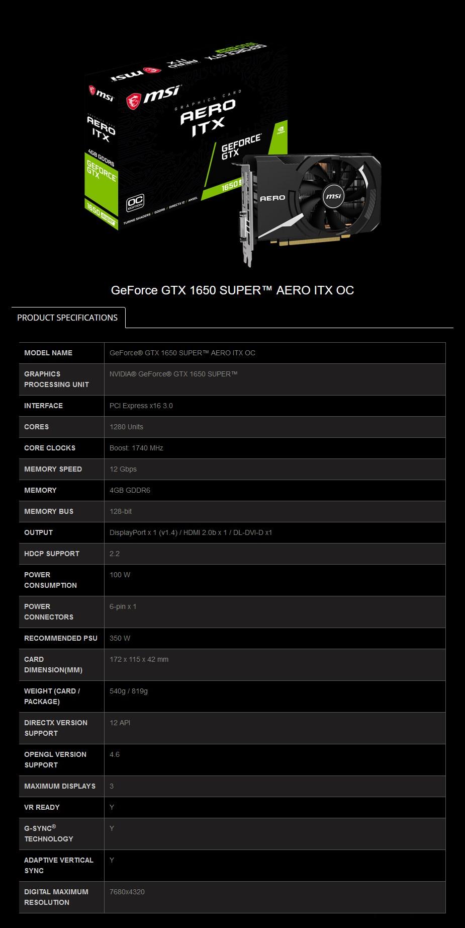 MSI GeForce GTX 1650 SUPER AERO ITX OC 4GB Video Card - Overview 2