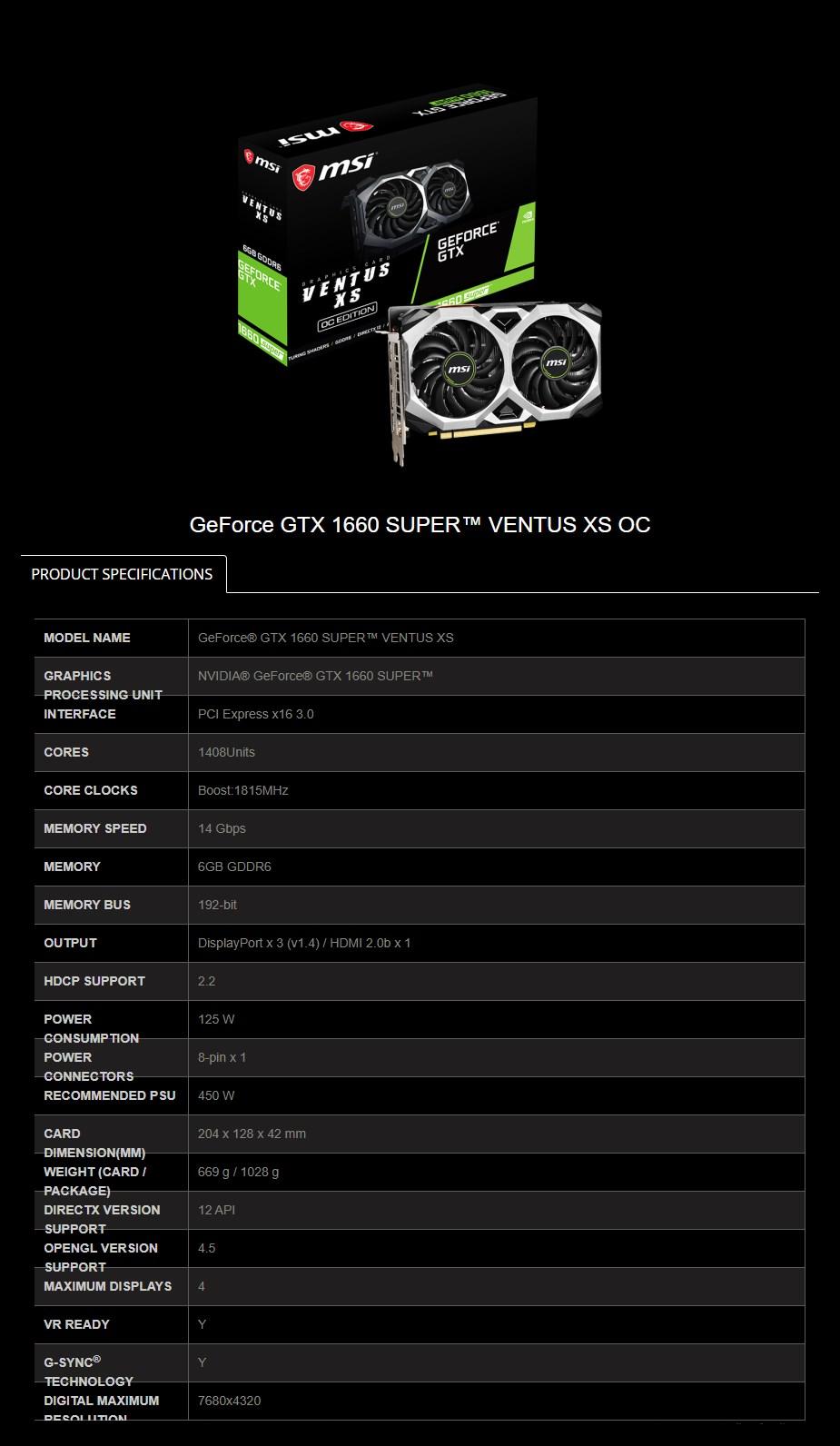 MSI GeForce GTX 1660 SUPER VENTUS XS OC 6GB Video Card - Overview 2