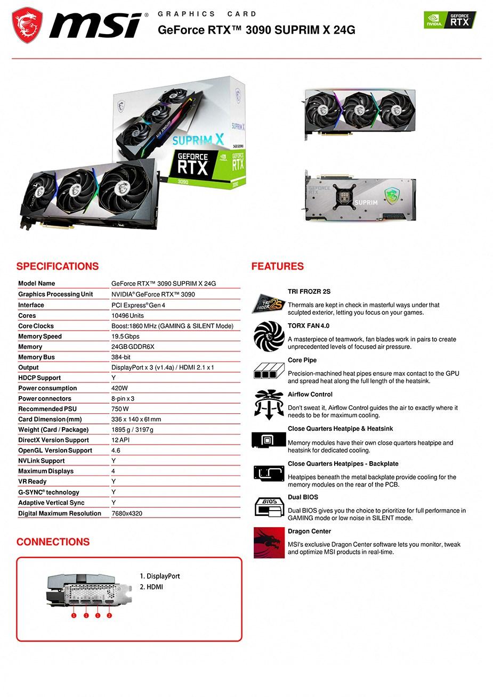 MSI GeForce RTX 3090 SUPRIM X 24GB Video Card - Overview 1