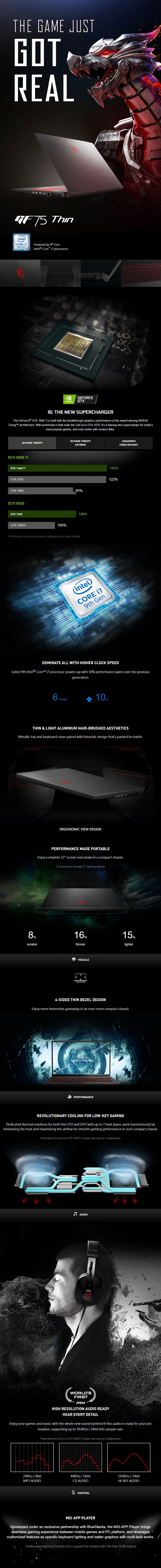 "MSI GF75 Thin 9SC 17.3"" 120Hz Gaming Laptop i7-9750H 16GB 256GB+1TB GTX1650 W10H - Overview 1"