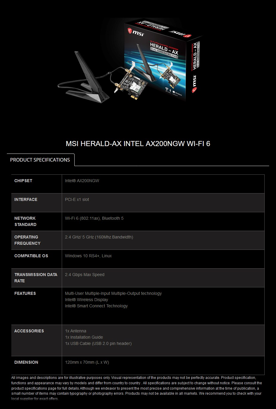 MSI Herald-AX Dual Band 802.11ax Wireless PCIe Adapter Card - Overview 2