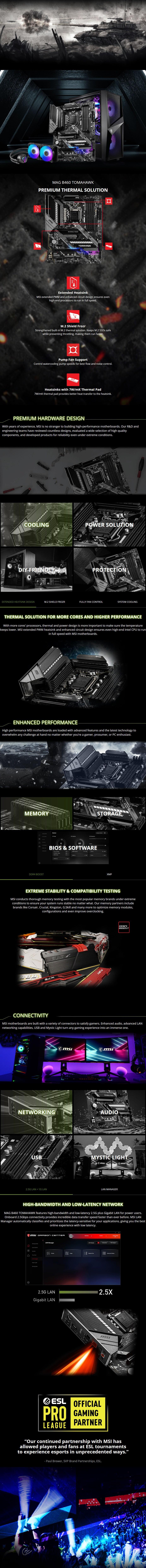 MSI MAG B460 TOMAHAWK LGA 1200 ATX Motherboard - Overview 1