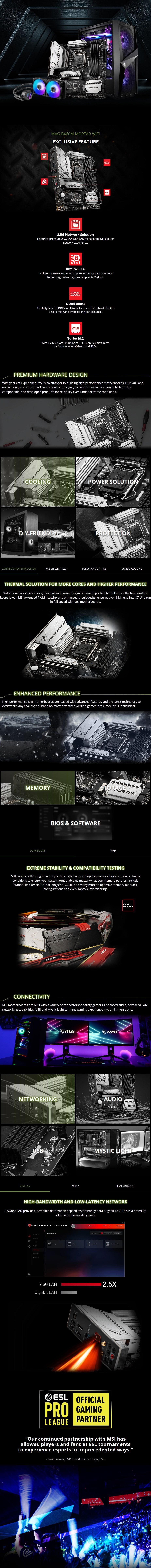 MSI MAG B460M MORTAR WIFI LGA 1200 Micro-ATX Motherboard - Overview 1