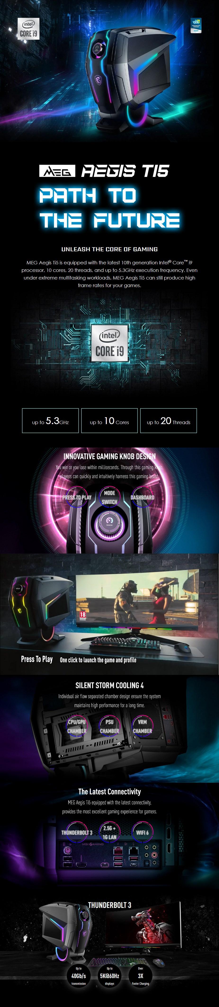 MSI MEG Aegis Ti5 Gaming PC i9-10900K 128GB 2TB SSD + 3TB HDD RTX3080 W10H - Overview 1