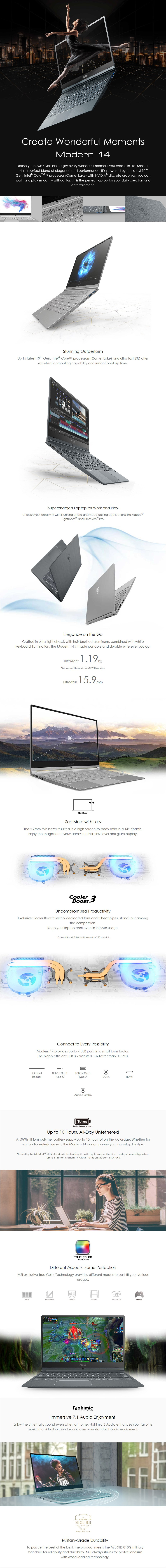 "MSI Modern 14 A10M 14"" Laptop i5-10210U 8GB 512GB SSD W10H - Overview 1"