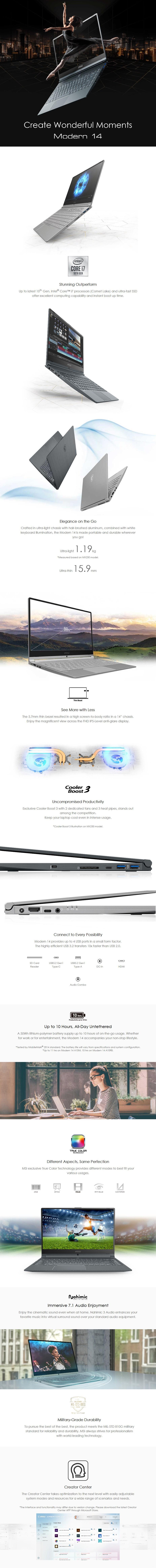 "MSI Modern 14 A10M 14"" Laptop i7-10510U 8GB 512GB W10H - Grey - Overview 1"