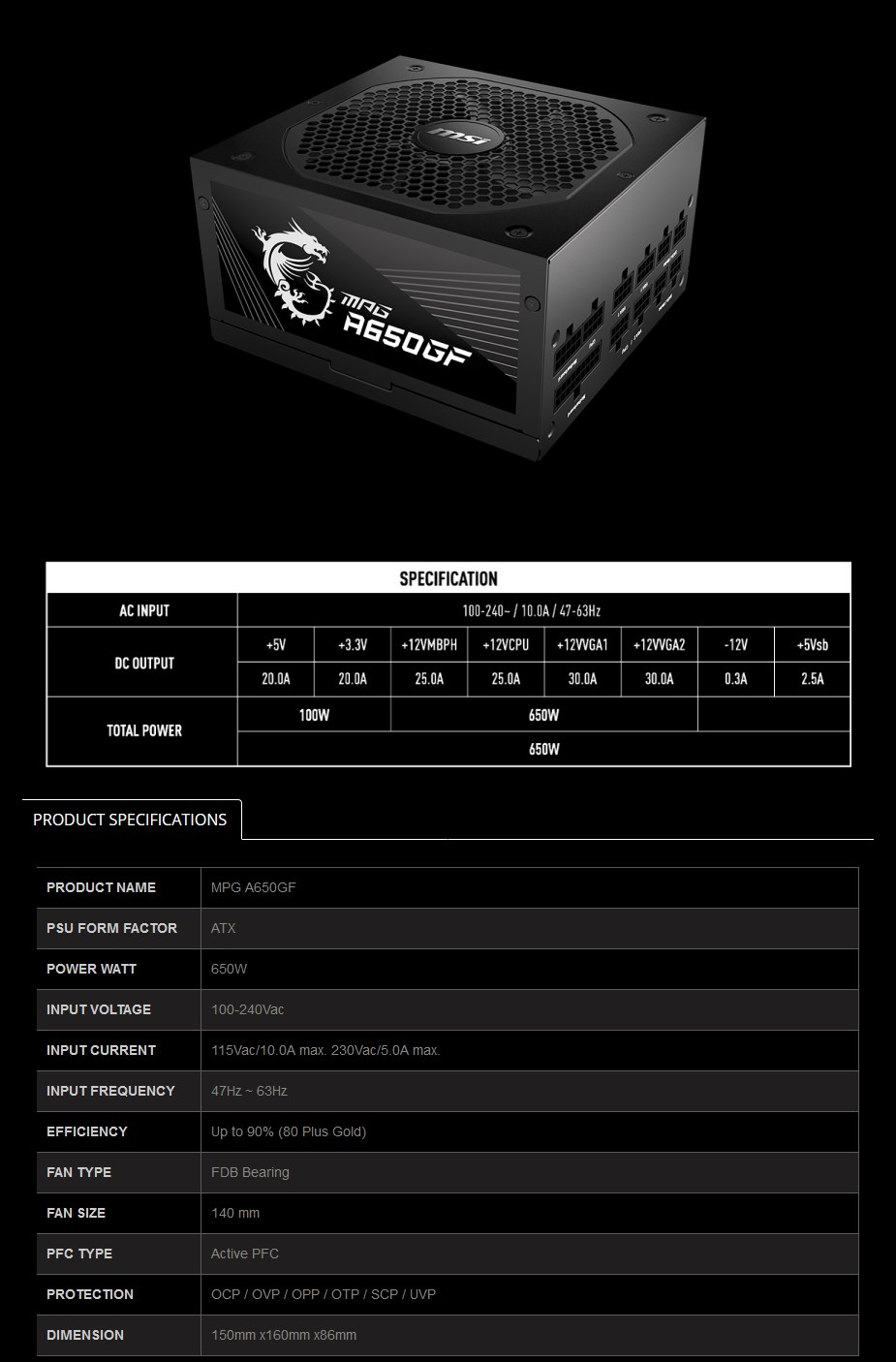 MSI MPG 650W 80+ Gold Fully Modular ATX Power Supply - Overview 1