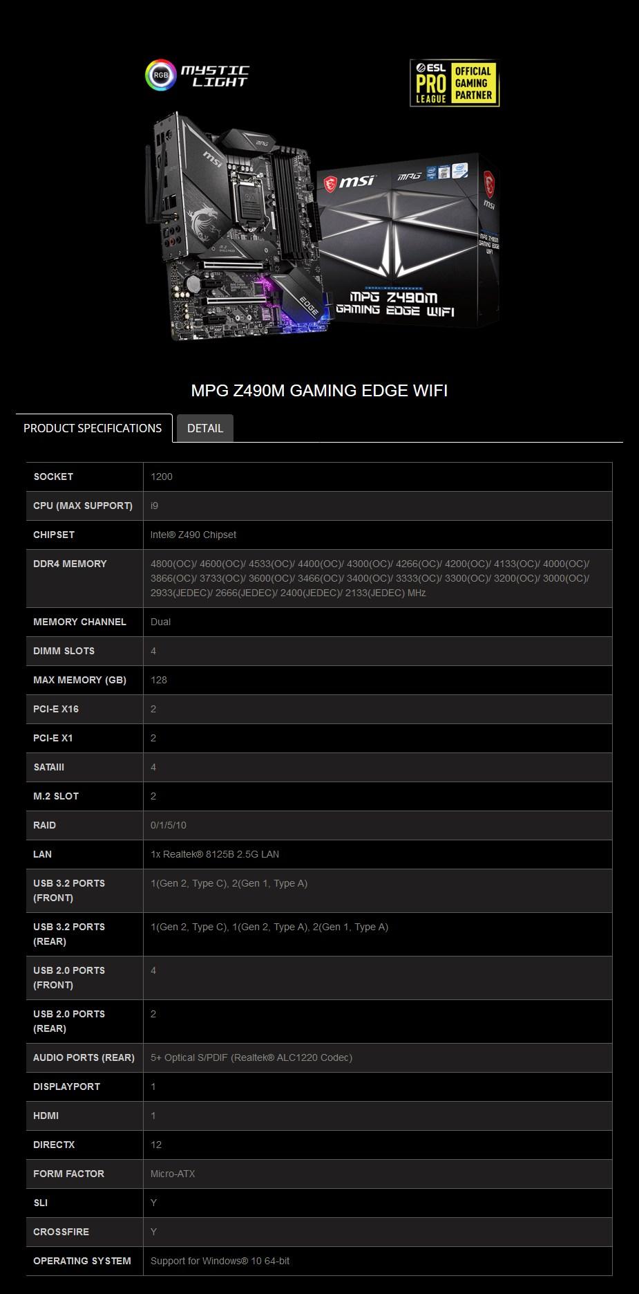 MSI MPG Z490M GAMING EDGE WIFI LGA 1200 Micro-ATX Motherboard - Overview 2