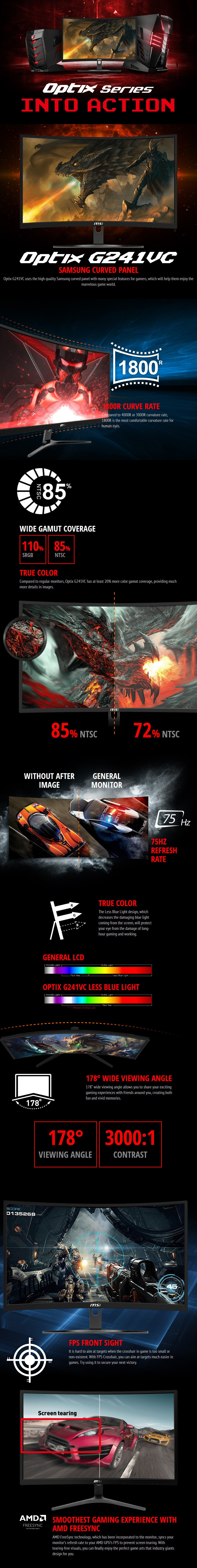 """MSI OPTIX G241VC 23.6"""" 75Hz Full HD 1ms Curved FreeSync Gaming Monitor - Overview 1"""