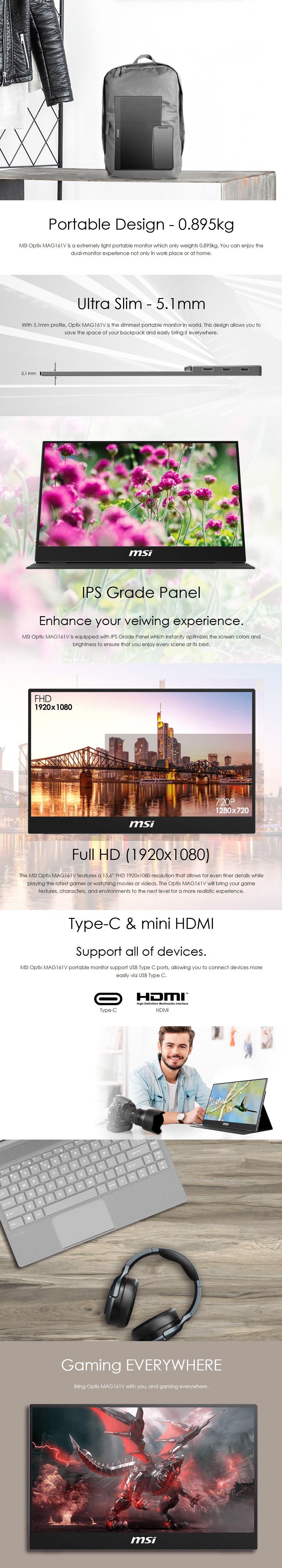 "MSI OPTIX MAG161V 15.6"" Full HD Portable USB-C IPS Monitor - Overview 1"