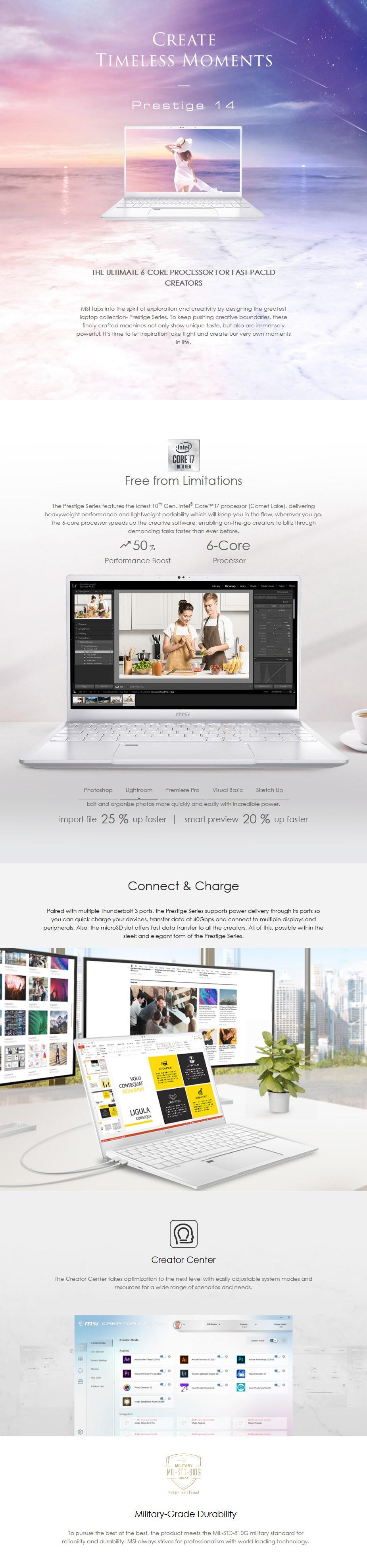 "MSI Prestige 14 A10RAS 14"" Laptop i7-10710U 16GB 512GB MX330 W10P - Pure White - Overview 1"