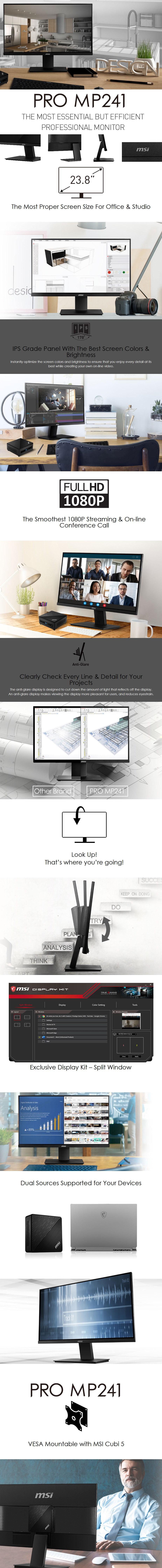 "MSI PRO MP241 23.8"" Full HD Anti-Glare IPS Monitor - Overview 1"