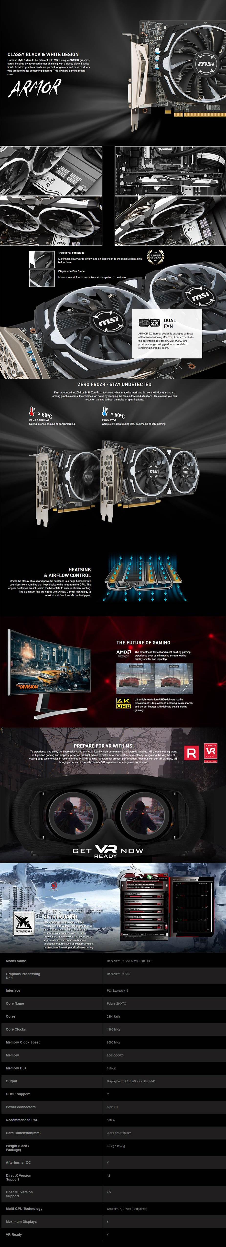 MSI Radeon RX 580 Armor OC 8GB Video Card - Refurbished - Desktop Overview