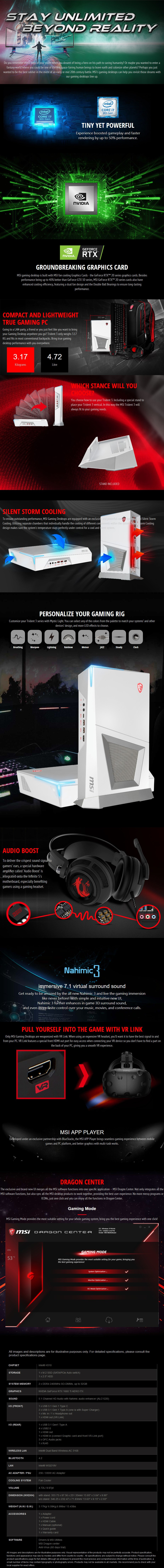 MSI Trident 3 Arctic Compact Gaming PC i7-9700F 16GB 1TB+512GB GTX1660Ti Win10H - Desktop  Overview 1