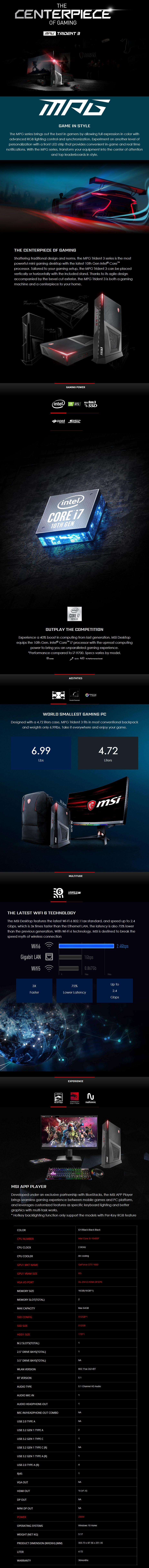 MSI Trident 3 Compact Gaming PC i5-10400F 16GB 512GB + 1TB GTX1660 Win10 - Overview 1