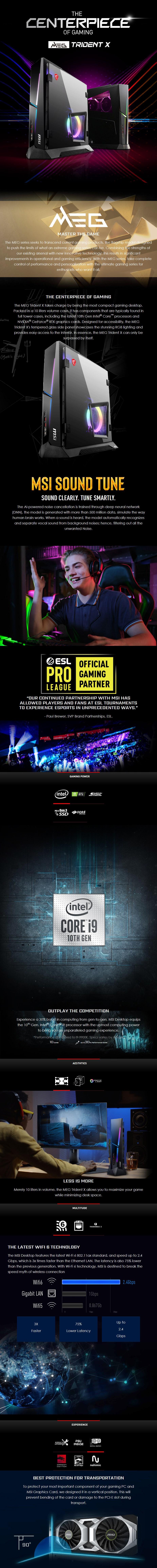 MSI MEG Trident X Gaming PC i9-10900K 32GB 2x 1TB SSD RTX3080 W10H - Overview 1