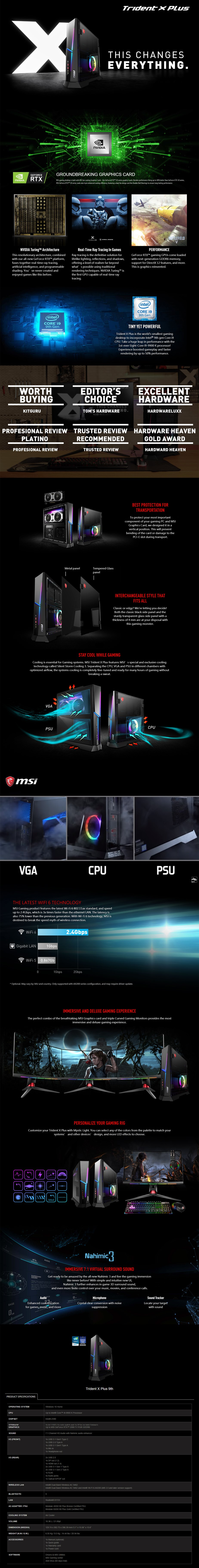 MSI TRIDENT X Plus Desktop PC i9-9900KF 32GB 2TB+1TGB RTX2080SUPER Win10H - Overview 1